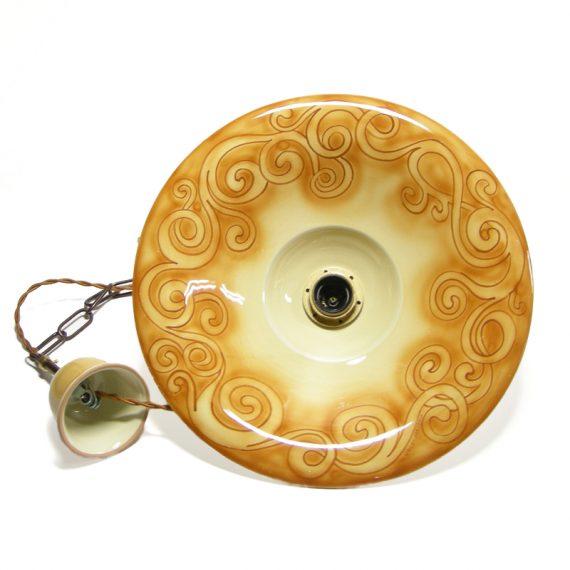 Pendant lamp in ceramic with handpainted spirals orange burnt sienna color