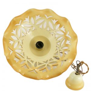 lampadario intagliato in ceramica, carved lamp in ceramic