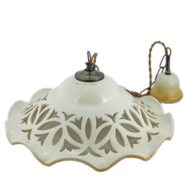 lampadario traforato, carved ceramic lamp