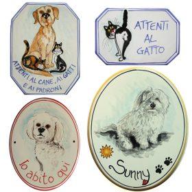 gatti e cani in ceramica, cats and dog in pottery