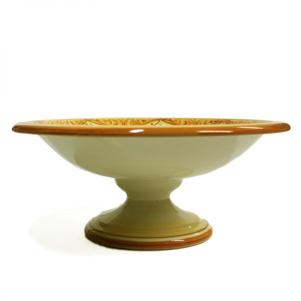 alzata in ceramica con fiore artigianato toscana, fruit bowl with foot in pottery handcrafted in tuscany