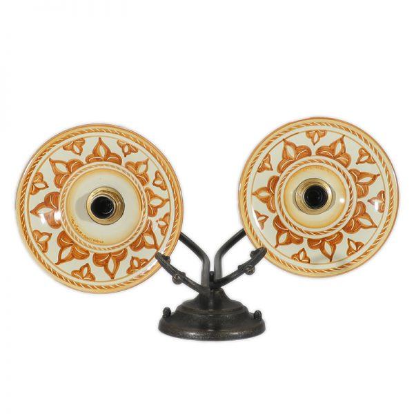 applique ceramica due luci, wall light with handmade ceramic plates