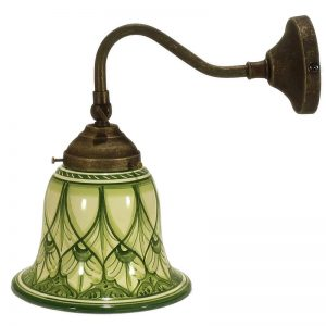 applique in metallo con paralume verde in ceramica a campana, metal wall light with green ceramic bell lampshade