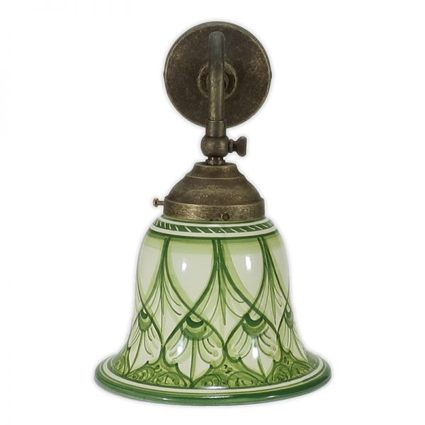 applique orientabile con paralume in ceramica verde, adjustable wall light with green ceramic lampshade