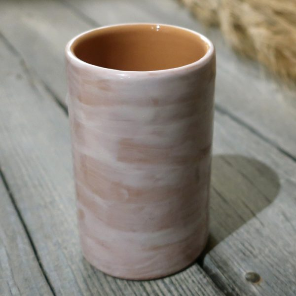 bicchiere porta spazzolini in ceramica dipinto a mano beige e terracotta,hand-painted toothbrush holders in ceramic rustic