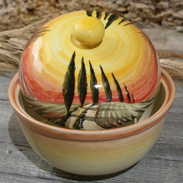 biscottiera ceramica con paesaggio toscano dipinto a mano, box for cookies tuscany landscape handpainted in ceramic