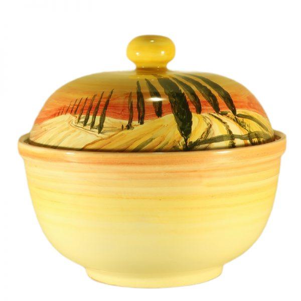 biscottiera ceramica con paesaggio toscano dipinto a mano, ceramic box for cookies tuscany landscape handpainted