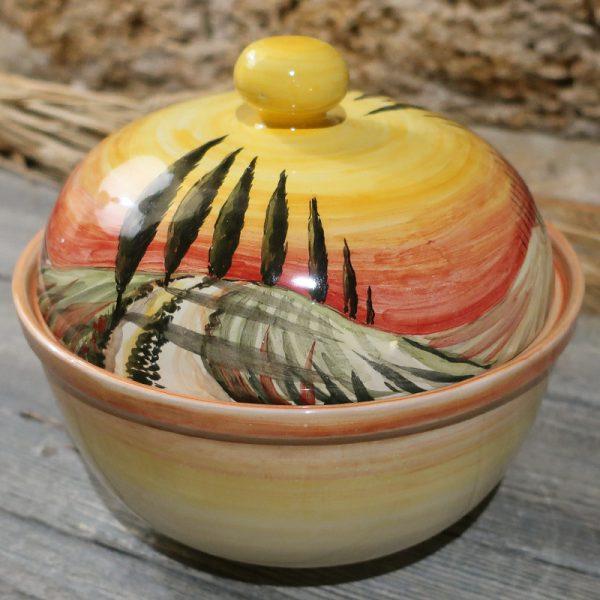biscottiera ceramica dipinta a mano con paesaggio toscano, box for cookies tuscany landscape handpainted in ceramic