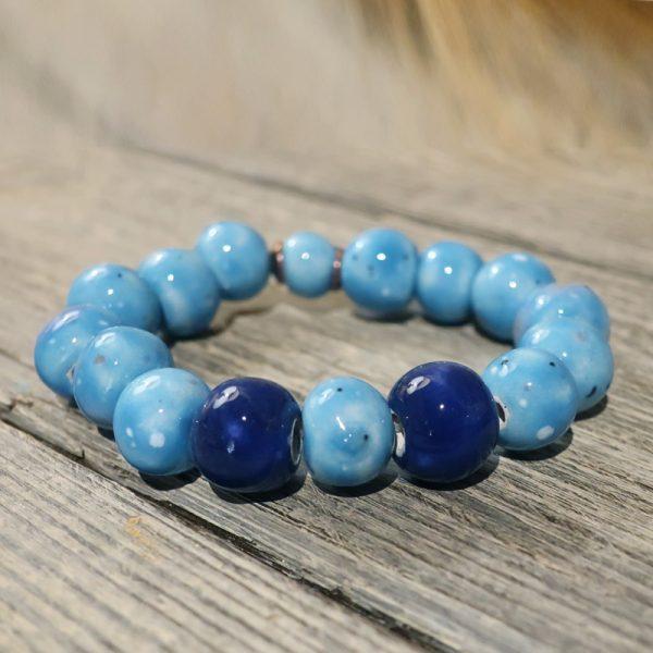 bracciale azzurro e blu in ceramica artigianato toscana, blue bracelet in ceramic handcrafted in tuscany