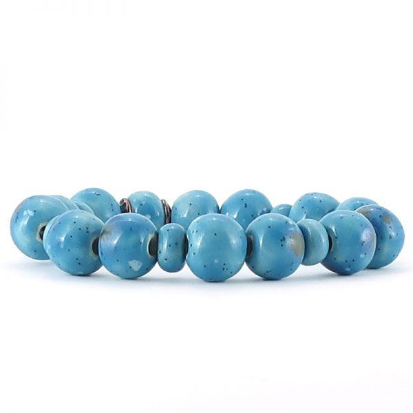 bracciale azzurro in ceramica, blue ceramic bracelet