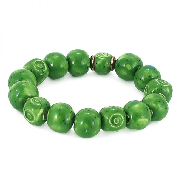 bracciale ceramica toscana, green tuscany bracelet
