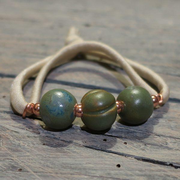 bracciale elastico con perle ceramica made in italy elastic bracelet in pottery