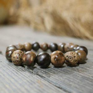 bracciale elastico marrone in ceramica bijoux toscana, brown elastic bracelet handmade in ceramic