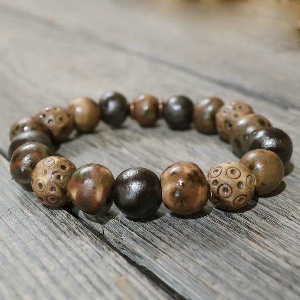 bracciale marrone con perle in ceramica fatte a mano, brown bracelet handmade in pottery