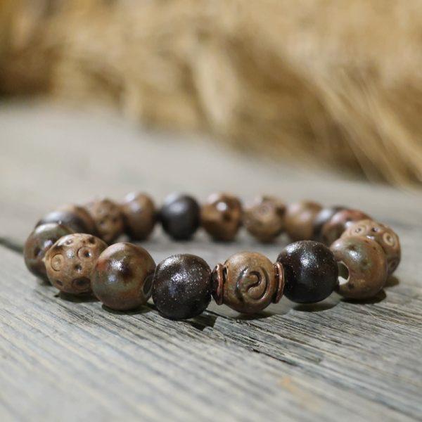 bracciale marrone in ceramica fatto a mano gioielli ceramica toscana, brown ceramic bracelet handmade in tuscany
