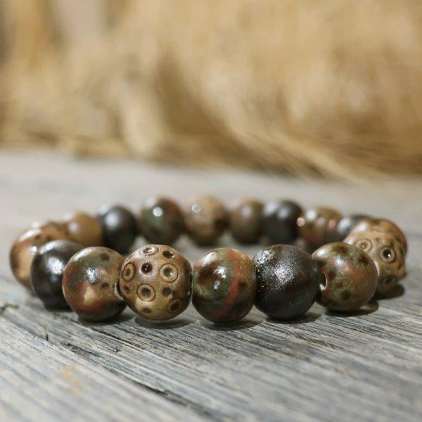 bracciale marrone in ceramica fatto a mano in toscana gioielli ceramica, brown ceramic bracelet bijoux handmade in tuscany
