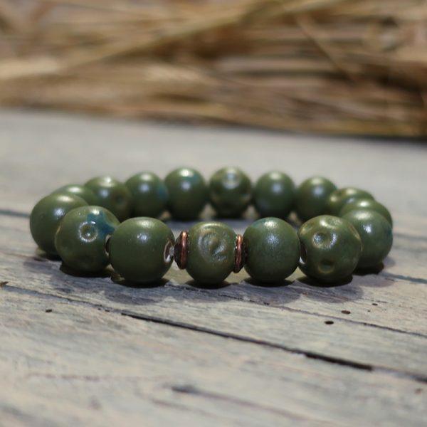 bracciale verde artigianato ceramica, green bracelet handcrafted ceramic