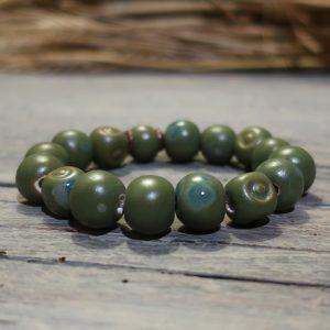 bracciale verde gioielli ceramica toscana, green bracelet ceramic jewels tuscany