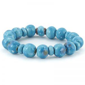 braccialetto azzurro ceramica, blue bracelet in pottery