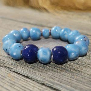 braccialetto celeste e blu in ceramica gioielli ceramica toscana, light blue bracelet in ceramic