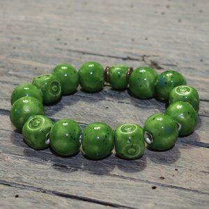 braccialetto verde di ceramica gioielli ceramica toscana, green bracelet in ceramic