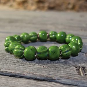 braccialetto verde in ceramica fatto a mano, green bracelet handmade in ceramic