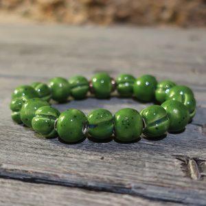 braccialetto verde in ceramica fatto a mano, green bracelet handmade in ceramic