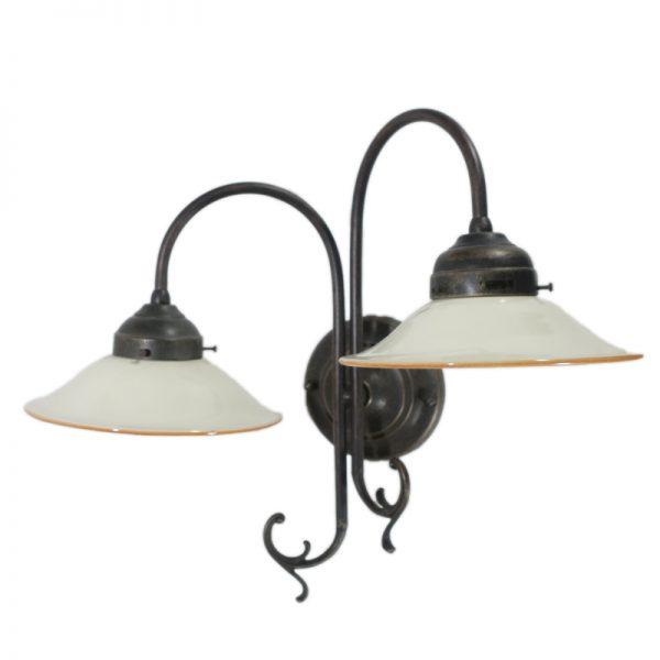 braccio da parete con piattoni ceramica due luci, wall light with two handmade ceramic plates