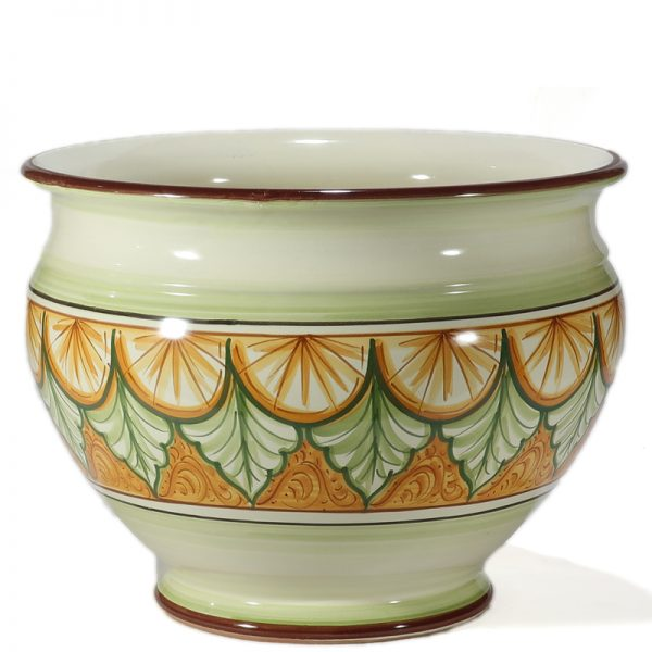 cachepot in ceramica dipinto a mano, hand painted pot cover in pottery