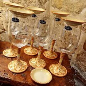 calici da vino su base in ceramica dipinta a mano, stemware wine glass on hand painted ceramic base