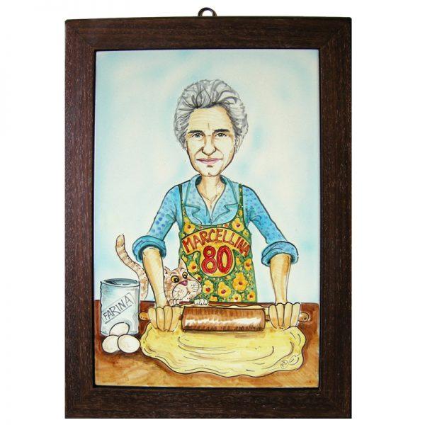 caricatura ceramica regalo compleanno nonna personalizzato, ceramic caricature personalized grandma birthday gift