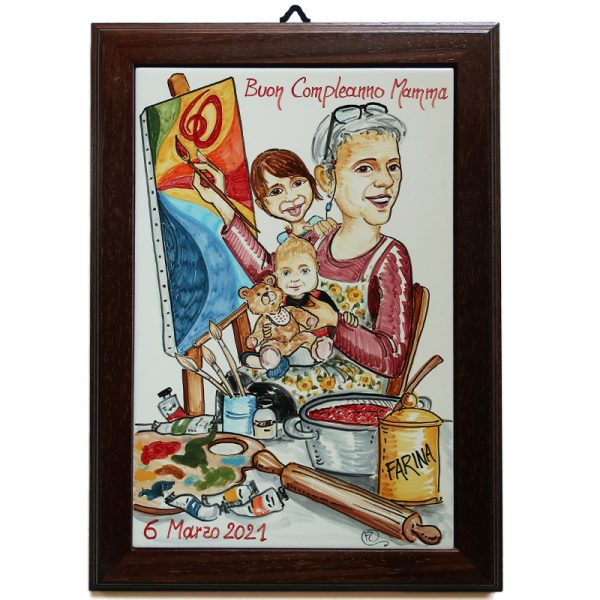 caricatura ceramica regalo personalizzato buon compleanno mamma, ceramic caricature personalized mom birthday gift
