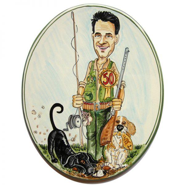 caricatura personalizzata regalo compleanno pesca caccia tartufi, custom caricature gift birthday fisher truffles hunter