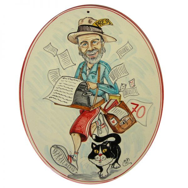 caricatura regalo compleanno 70 anni giornalista con gatto, custom gift for birthday 70 years journalist and cat