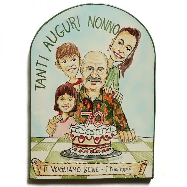 caricatura regalo personalizzato compleanno nonno 70 anni, caricature personalized stunning gift birthday grandpa 70 years