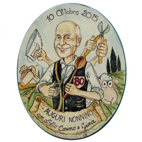 caricatura regalo personalizzato compleanno nonno 80 anni, caricature personalized gift birthday grandpa 80 years