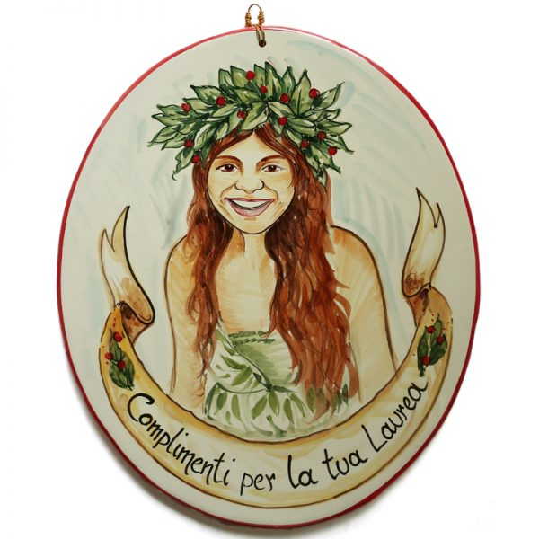 caricatura targa ceramica personalizzata festa laurea dipinta a mano stile fumetto, hand painted ceramic tile caricature in comics style for degree
