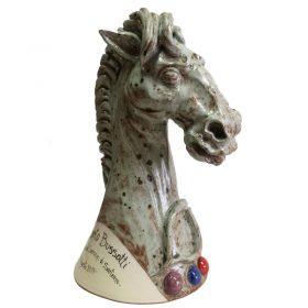 cavallo in ceramica con dedica riconoscimento, horse in pottery with inscription