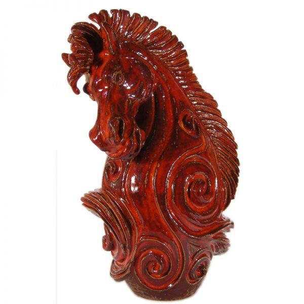 cavallo rosso ceramica, pottery red horse