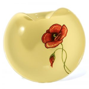 centrotavola ceramica con papavero rosso dipinto a mano in toscana, ceramic centerpiece with red poppy handmade in tuscany