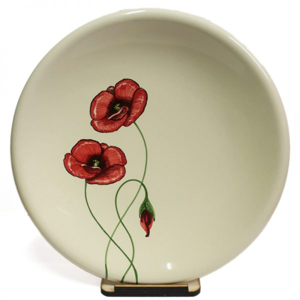 centrotavola ceramica papaveri rossi, red poppies ceramic centerpiece