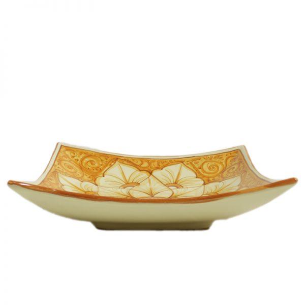 centrotavola in ceramica quadrato arancio terra di siena, orange squared centerpiece in pottery