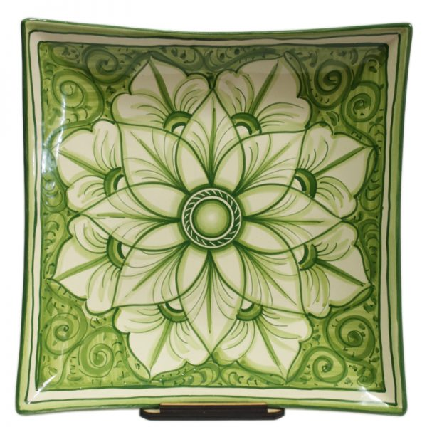 centrotavola in ceramica quadrato verde, green squared centerpiece in pottery