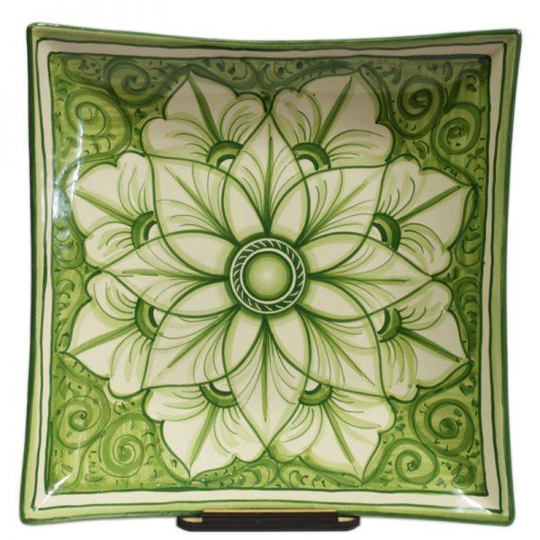 centrotavola in ceramica quadrato verde, green squared centerpiece in pottery