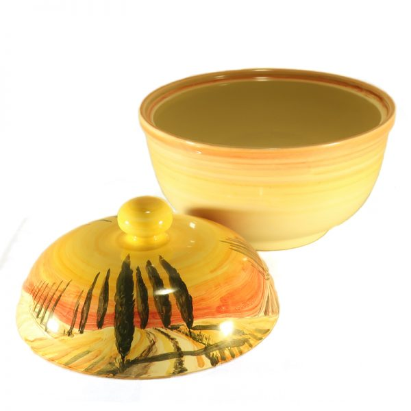 centrotavola porta cioccolatini in ceramica con paesaggio artigianato toscana, landscape handpainted cookie jar in ceramic handcrafted in tuscany