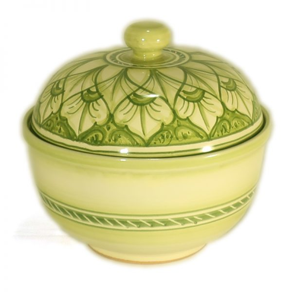 centrotavola porta cioccolatini in ceramica verde artigianato toscana, handpainted green cookie jar in ceramic handcrafted in tuscany