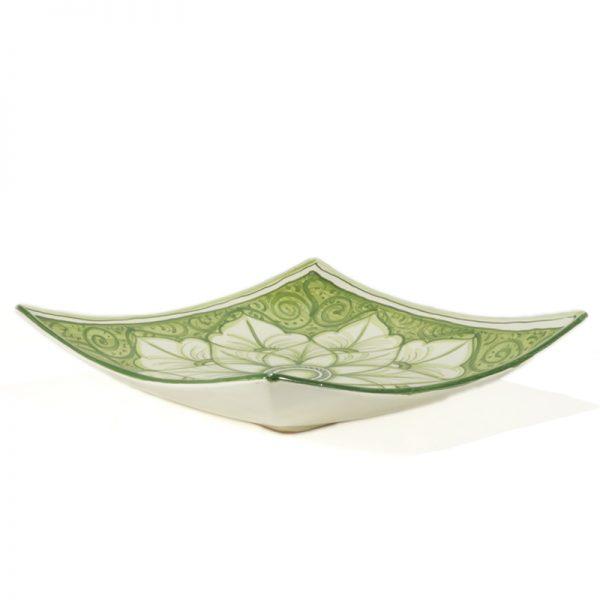 centrotavola quadrato in ceramica dipinto a mano, handpainted squared ceramic centerpiece