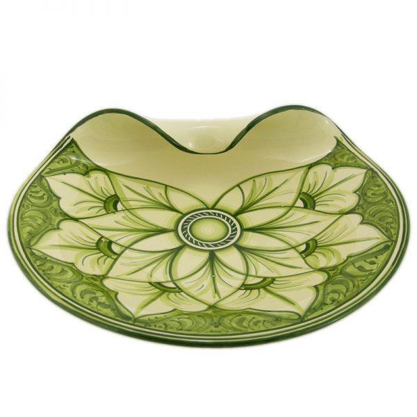 centrotavola verde in ceramica, green ceramic centrepiece