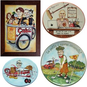 ceramica con caricatura compleanno, ceramic caricature for birthday