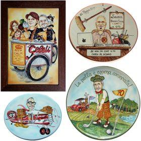 ceramica con caricatura compleanno, ceramic caricature for birthday